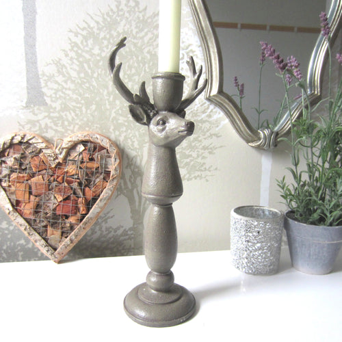 Stag Head Candlestick Antlers candle holder H30cm - magnoliavintage