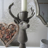 PAIR Stag Head Pillar Candlesticks Antlers candle holder H30cm Vintage Chic - magnoliavintage