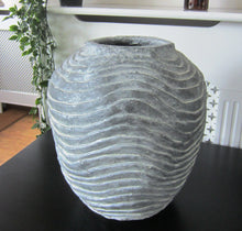 Load image into Gallery viewer, Large Grey Round Textured Vase - magnoliavintage