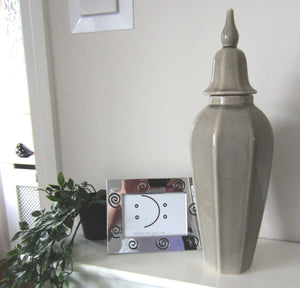 Crackle Glazed Grey/Taupe Ceramic lidded Vase - magnoliavintage