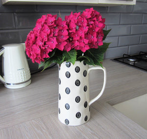 Large Ceramic Polka Dot Jug - black and cream H25cm - magnoliavintage