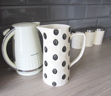 Load image into Gallery viewer, Large Ceramic Polka Dot Jug - black and cream H25cm - magnoliavintage