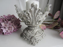 Load image into Gallery viewer, Ornate Stone look Hurricane Vase - magnoliavintage