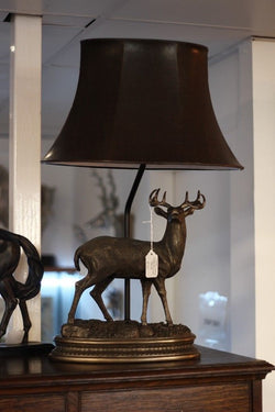 Bronzed Stag Table Lamp Light With leather look Shade - magnoliavintage