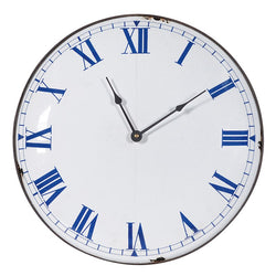 35cm White and Blue wall clock Roman Numeral clean vintage chic style - magnoliavintage