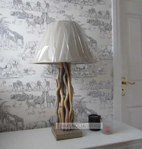 Driftwood Table Lamp and Cream Shade country chic Side Table Lamp - magnoliavintage