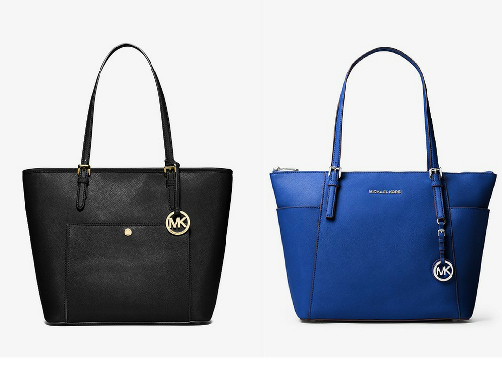 Michael Kors Jet Set Large Top-Zip Leather Tote in black and blue. Luxury designer bag favourites