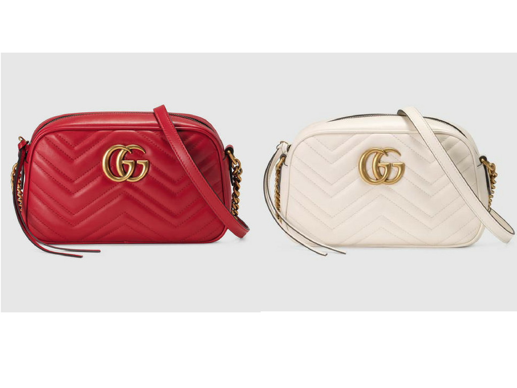 Gucci GG Marmont Shoulder Leather Bag in red and white colours. Luxury Designer Handbags