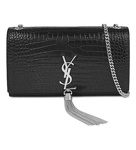 YSL Monogram Croc, Embrossed Leather Satchel Bag, Luxury Designer Handbag