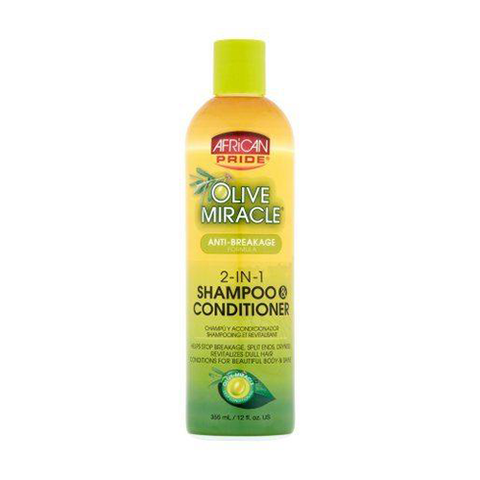 AFRICAN PRIDE Olive Miracle Anti Breakage 2 In1 Shampoo And Conditioner 12oz - HAIRGLO