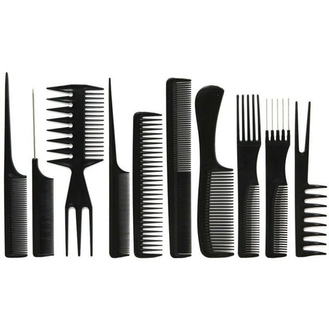10 Piece Professional Styling Comb Set (Black) - HAIRGLO