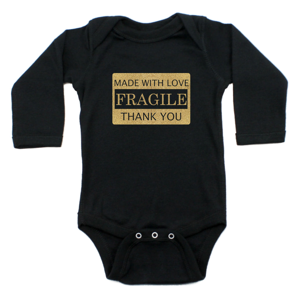 Fragile Made With Love Long Sleeve Cotton Bodysuit