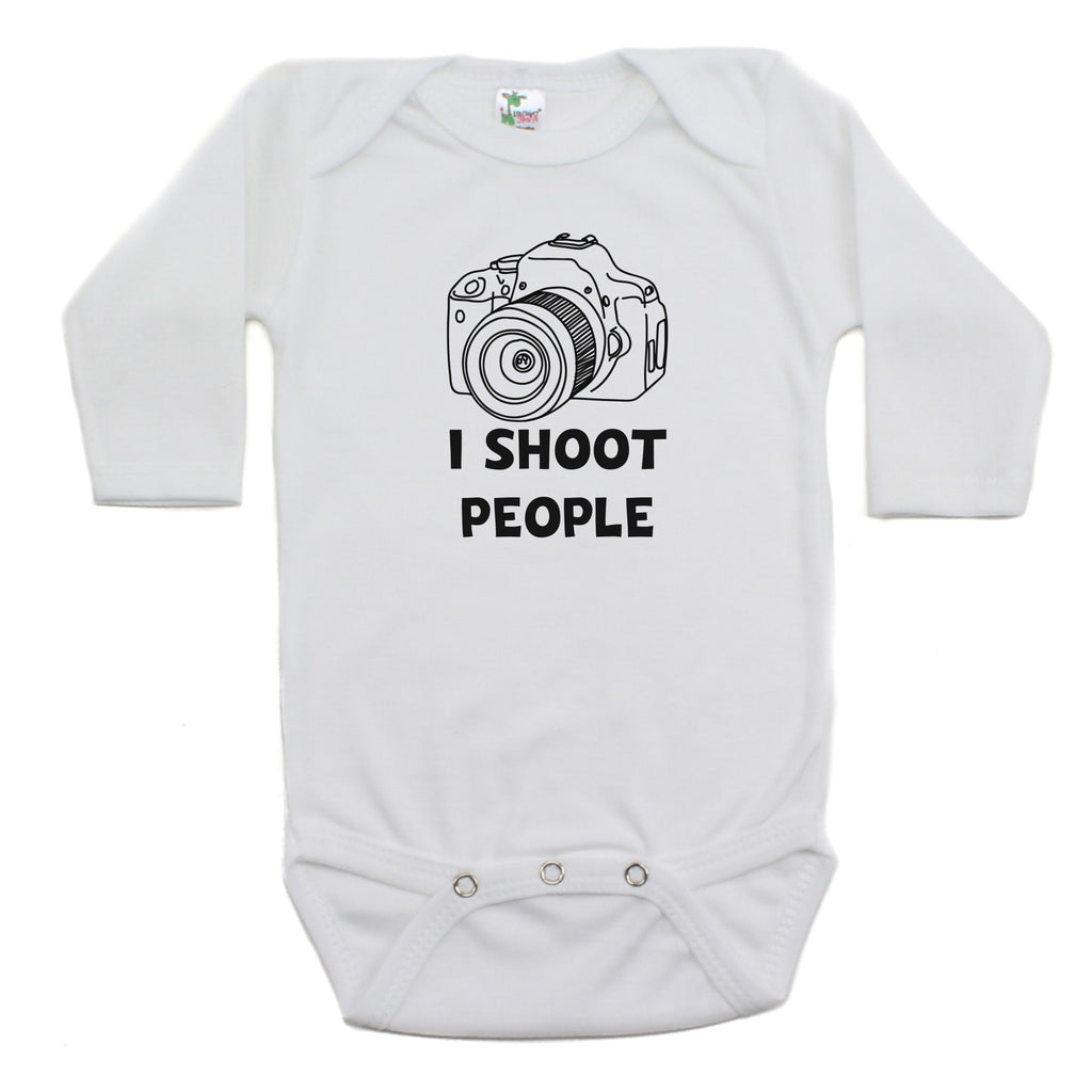 I Shoot People Long Sleeve Cotton Bodysuit
