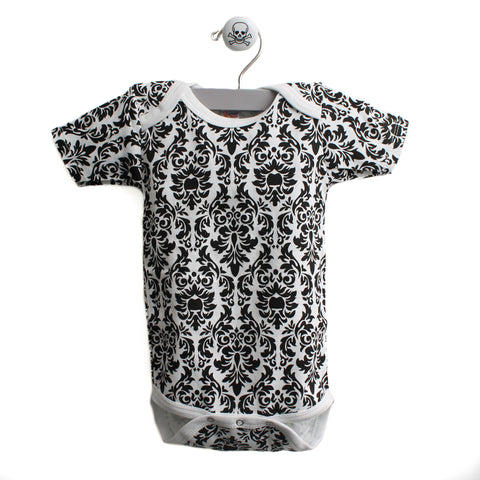 Damask Pattern Short Sleeve Bodysuit