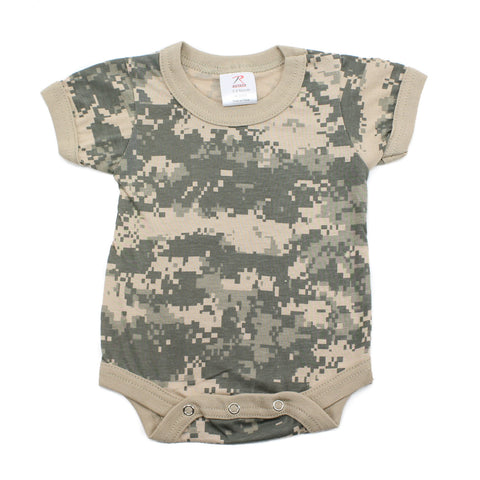 Cotton Short Sleeve Baby Bodysuit Creeper, Digital Camo