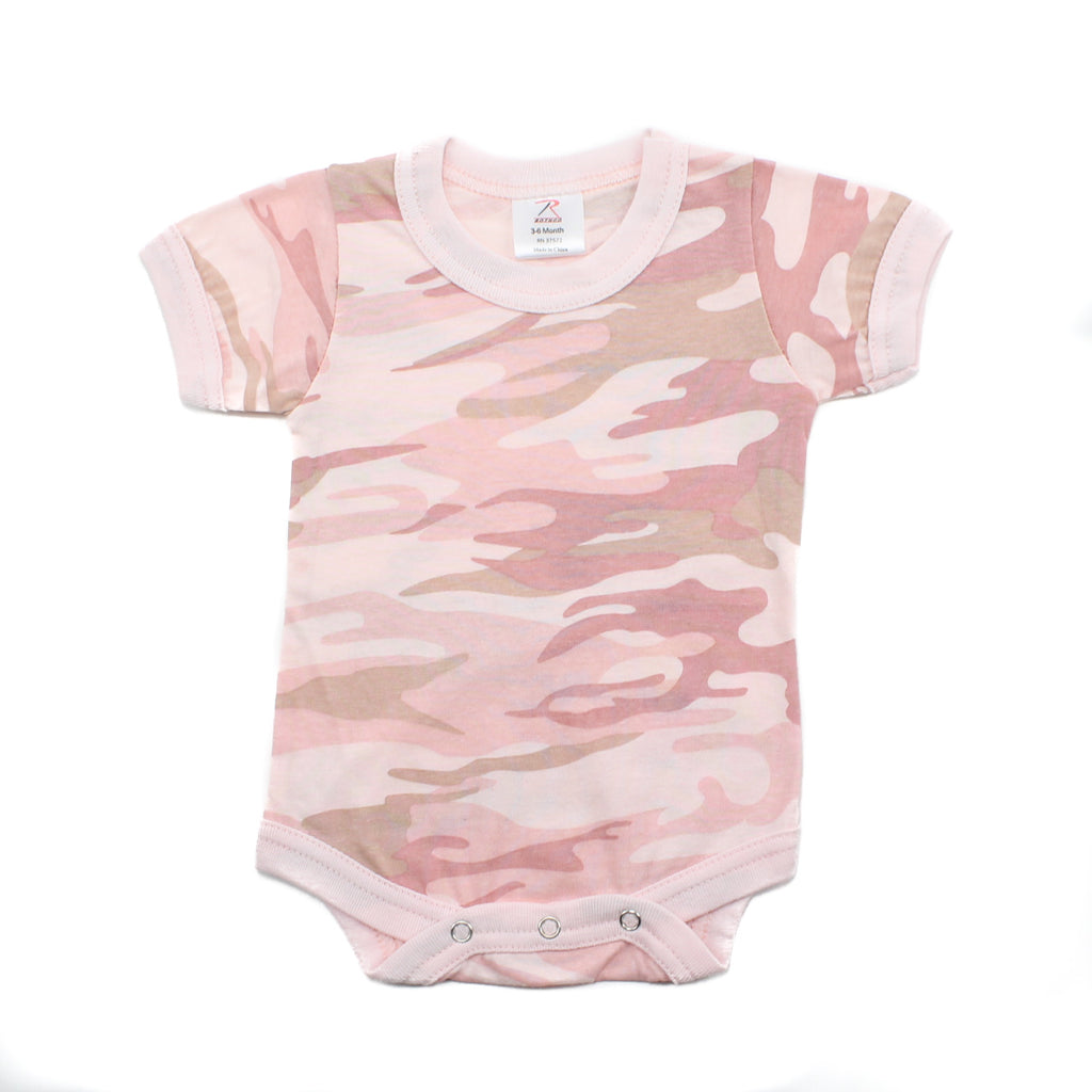 Cotton Short Sleeve Baby Bodysuit Creeper, Light Pink Camo