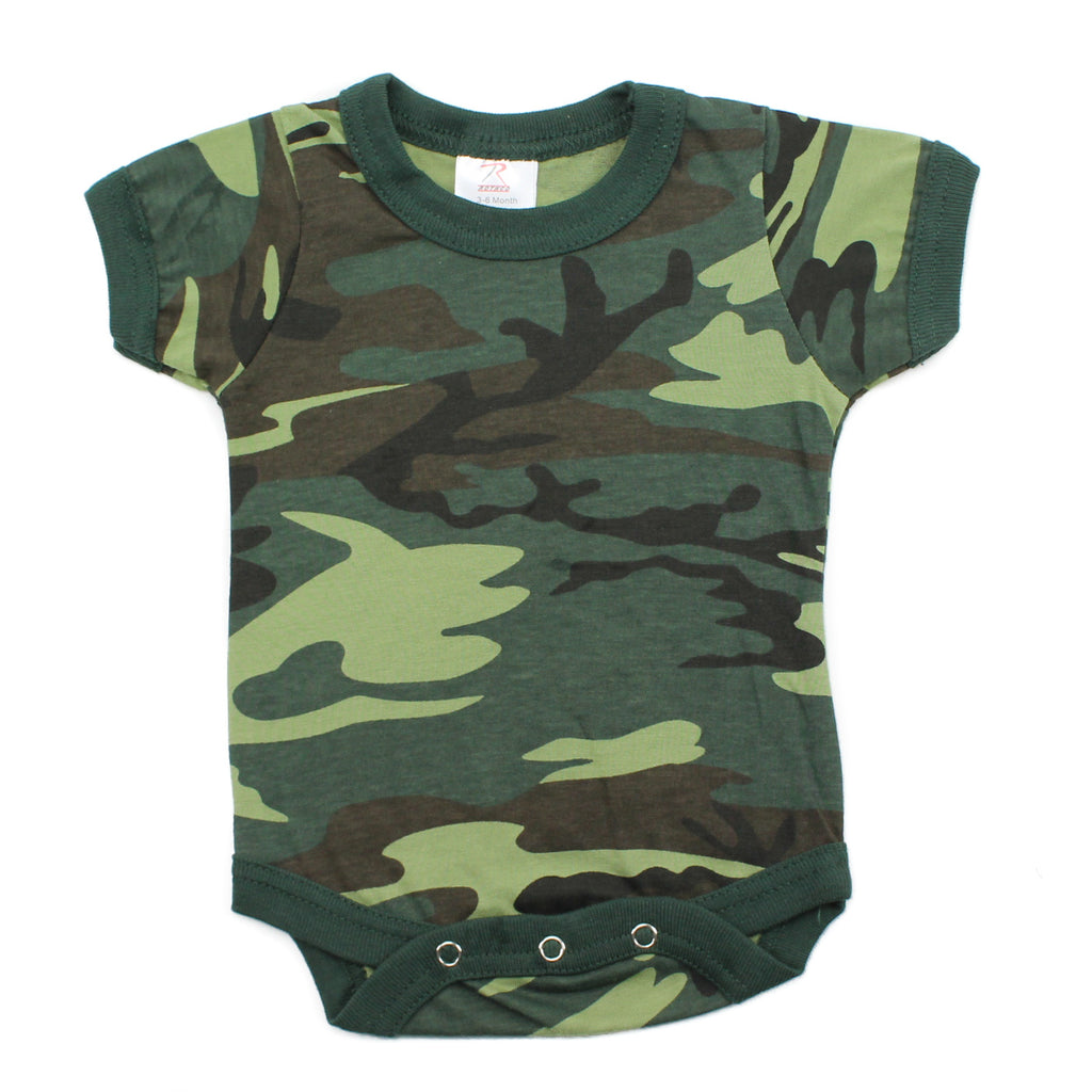 Cotton Short Sleeve Baby Bodysuit Creeper, Woodland Camo
