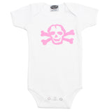 Girl Pink Scribble Skull & Bones Short Sleeve Baby Infant Bodysuit
