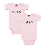 Black Copy (Ctl + C) / Paste (Ctl + V) Twin Set Short Sleeve Baby Infant Bodysuits