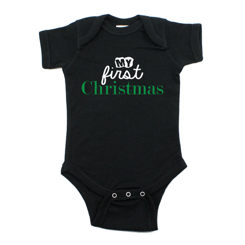 My First Christmas Holiday Short Sleeve Baby Infant Bodysuit