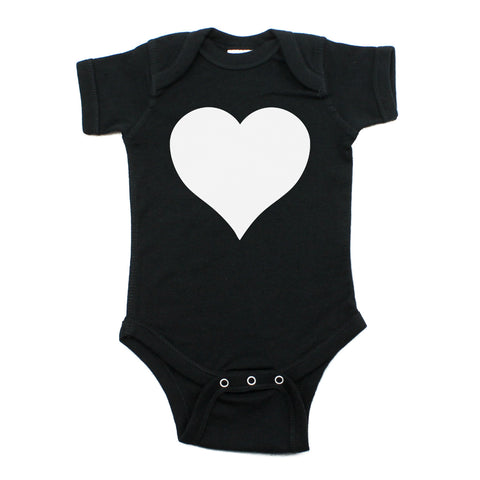 Big White Heart Short Sleeve Baby Infant Bodysuit