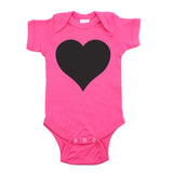 Big Black Heart Short Sleeve Baby Infant Bodysuit