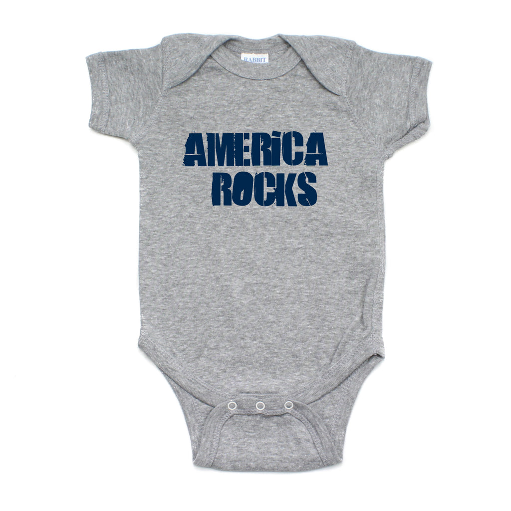 Labor Day Navy Blue America Rocks Short Sleeve Baby Infant Bodysuit