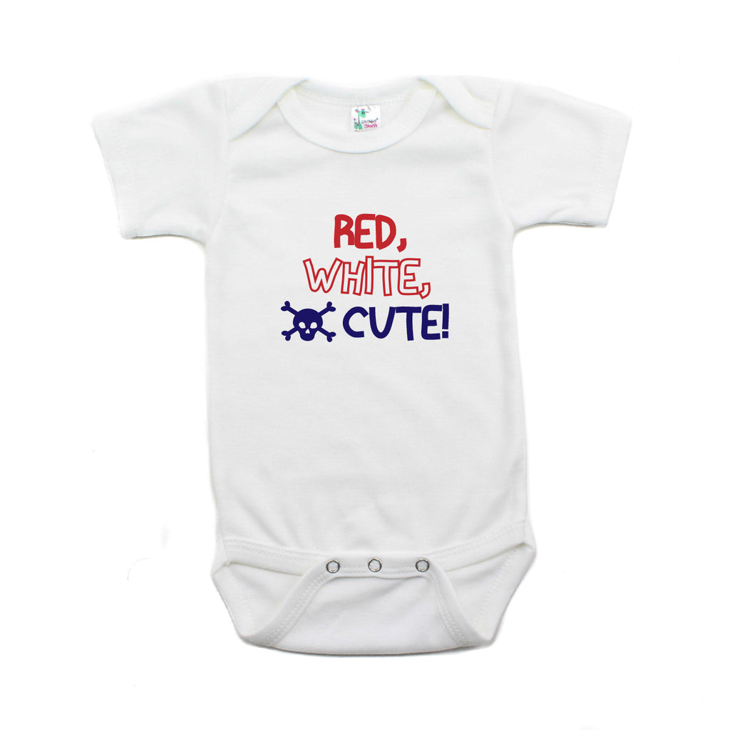 Labor Day Red White Cute Skull Short Sleeve Baby Infant Bodysuit