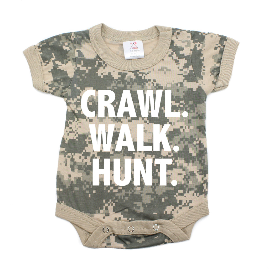 Crawl Walk Hunt Camo Hunting Short Sleeve Baby Infant Bodysuit