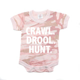 Crawl Drool Hunt Camo Hunting Short Sleeve Baby Infant Bodysuit