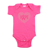 Breast Cancer Awareness Pink Hope Heart Short Sleeve Infant Bodysuit