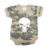 White Punisher Skull Short Sleeve Baby Infant Bodysuit