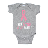 Breast Cancer Awareness Pink Her Battle Is My Battle Short Sleeve Infant Bodysuit