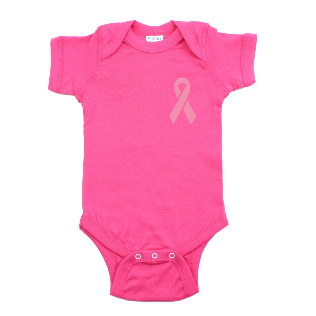 Breast Cancer Awareness Pink Ribbon Short Sleeve Infant Bodysuit