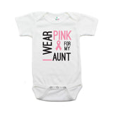 Breast Cancer Awareness I Wear Pink For My Aunt Short Sleeve Infant Bodysuit