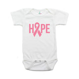 Breast Cancer Awareness Pink Hope Ribbon Short Sleeve Infant Bodysuit