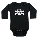 White Scribble Skull Long Sleeve Cotton One Piece Baby Bodysuit