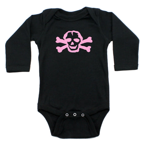 Girl Pink Scribble Skull & Bones Long Sleeve Baby Infant Bodysuit