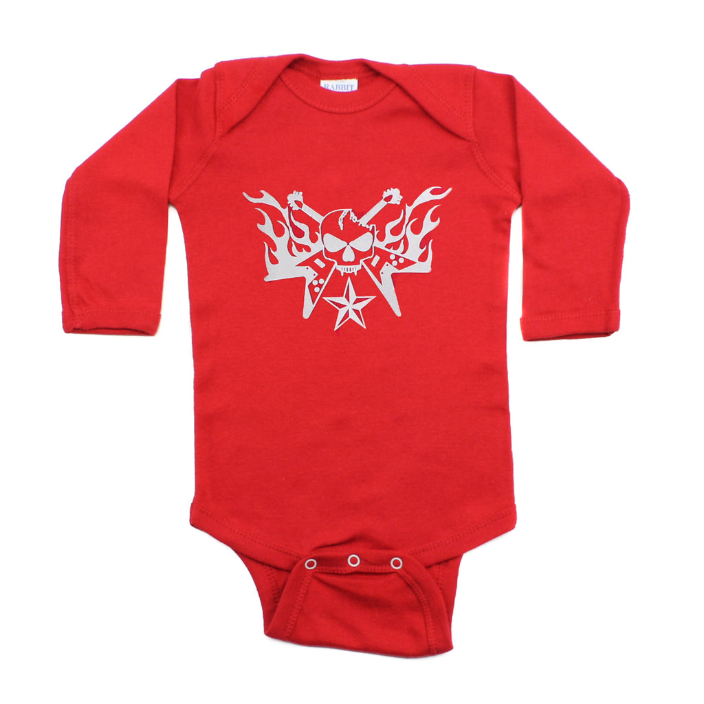 One Color Skull Guitar Hero Flames Long Sleeve Baby Infant Bodysuit