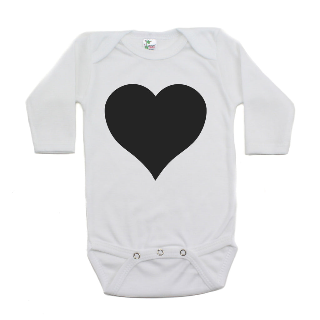 Big Black Heart Long Sleeve Baby Infant Bodysuit