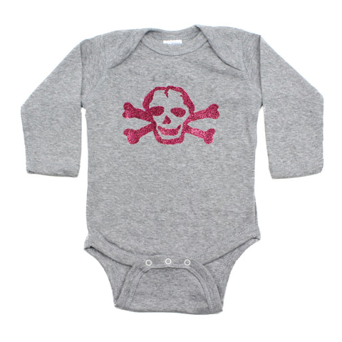 Pink Glitter Scribble Skull Long Sleeve Baby Infant Bodysuit