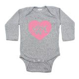 Breast Cancer Awareness Pink Hope Heart Long Sleeve Infant Bodysuit