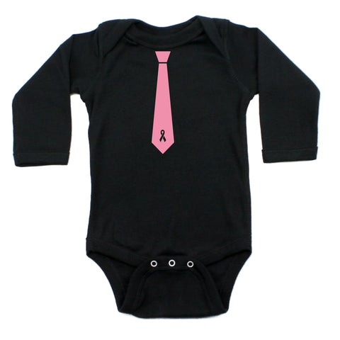 Breast Cancer Awareness Breast Cancer Tie Long Sleeve Infant Bodysuit