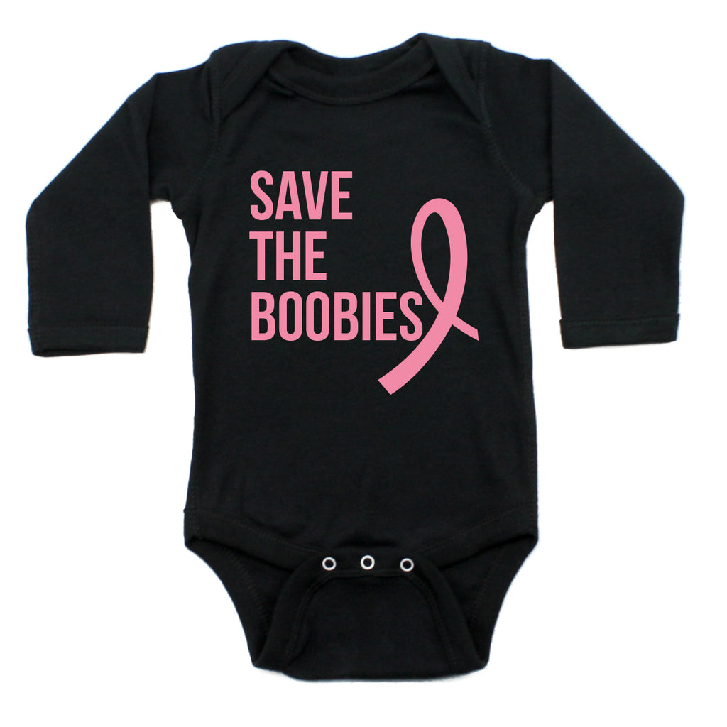 Breast Cancer Awareness Pink Save The Boobies Long Sleeve Infant Bodysuit