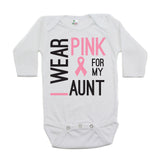 Breast Cancer Awareness I Wear Pink For My Aunt Long Sleeve Infant Bodysuit