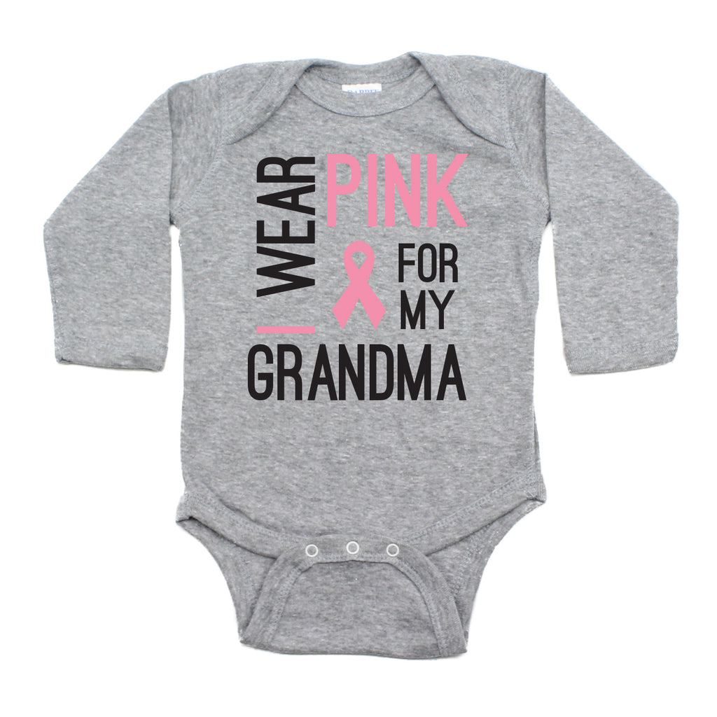Breast Cancer Awareness I Wear Pink For My Grandma Long Sleeve Infant Bodysuit