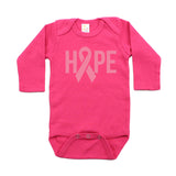 Breast Cancer Awareness Pink Hope Ribbon Long Sleeve Infant Bodysuit