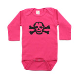 Black Scribble Skull Long Sleeve Cotton One Piece Baby Bodysuit