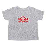 Red Scribble Skull and Bones Baby-Girls Toddler Short Sleeve T-Shirt