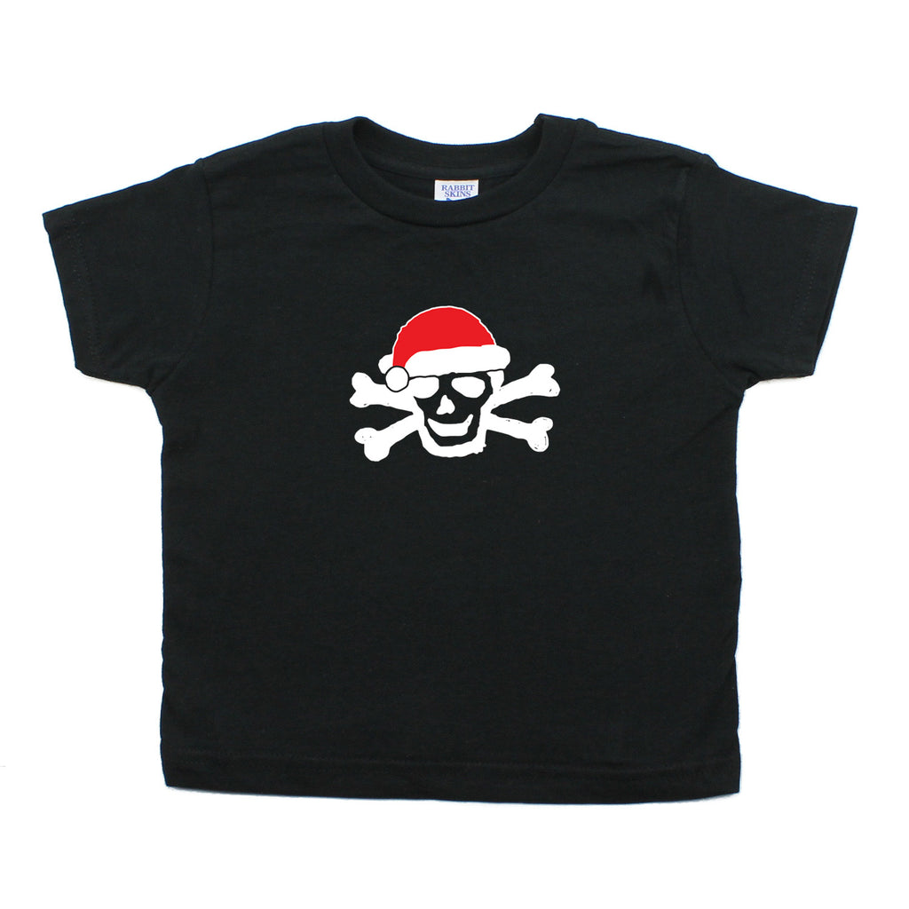 Skull & Bones Santa Christmas Unisex- Kids Toddler Short Sleeve T-Shirt